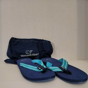 Vineyard Vines Flip Flops  Size 13 Navy With Blue Stripe and Carrying Bag