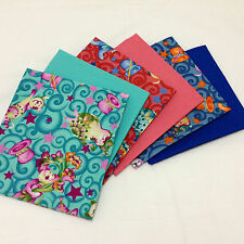 6 x Bright Colourful Mad Hatter Cats Material 100% Cotton FQ Fabric Bundle