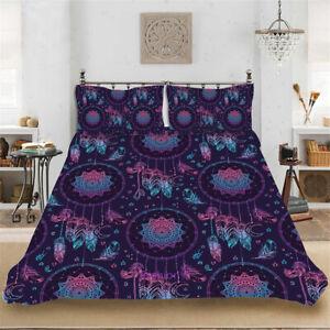 Dreamcatcher Purple Single/Double/Queen/King Bed Quilt Doona Duvet Cover Set