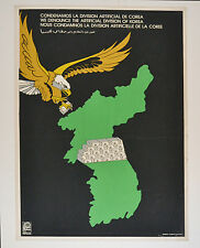 1979 Cuban OSPAAAL authentic SILKSCREEN Political Poster.North KOREA Division.