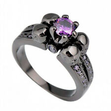 Skull Design Purple Amethyst Wedding Ring 10KT Black Gold Filled Party Size 5