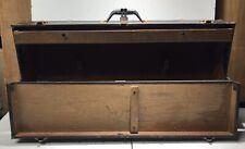 Antique Toll Box Wood & Metal Very Large W/ Metal Handle & Hinges