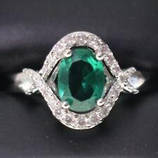 Vintage Green Emerald Diamond Ring Women Jewelry Engagement Wedding Gift R6331