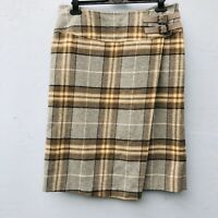 "Laura Ashley Skirt  UK 14 Tartan Check Grey Brown Length 26"" Buckle Detail Lined"