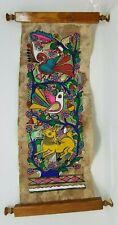"""Vintage Animal Hide Painted Scroll Artwork Mid Eastern 21""""x7.5"""" Art Work"""