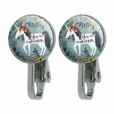 Flowers Novelty Clip-On Stud Earrings You are a Unicorn Unique