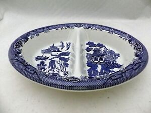 Churchill of England - Blue Willow - oval Divided Vegetable serving Bowl - EUC