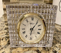 """Mikasa Crystal Quartz Clock WORKING Made in Germany for Desk Mantle 4.25""""x 4.25"""""""