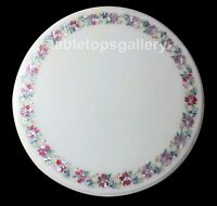 """18"""" White Marble Coffee Table Top Pink Mother of Pearl Floral Inlay Decor W297"""
