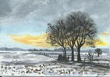 "Aceo original acrylic painting ""Winter Fields"" by J. Hutson"