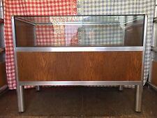 Vintage Retro Mid Century Teak & Aluminium Glazed Shop Display Counter Cabinet