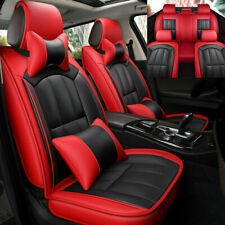 Red+Black Waterproof Car Seat Cover Universal Auto 5-Seat Pu Leather Cushion Set (Fits: Hyundai Accent)
