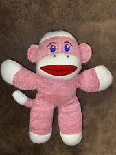 Stuffed Plush Knit Sweater Pink Sock Monkey With  Rattle