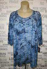 VINCENZO ALLOCCA: Oversize Shirt blau Batik Laser Cuts 42 - 56 NEU anstatt 72,90