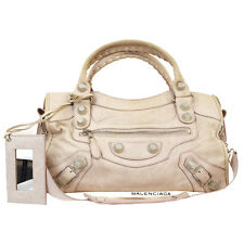 Authentic BALENCIAGA Logos Giant City 2Way Shoulder Hand Bag Leather Pink 37R843