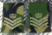 Genuine British Army Woodland Camo STAFF SERGEANT Rank Slides / Epaulettes NEW