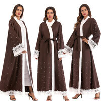 Muslim Women Open Front Dubai Cardigan Robe Islamic Maxi Dress Kaftan Abaya Gown