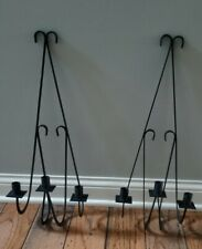 Vtg Pair Black Rustic Farmhouse Wrought Iron Sconce Candle Holders hold 3 candle