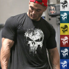 Men's Casual Round Neck Cotton T-shirt Fitness Gym Wear Bodybuilding Workout Tee