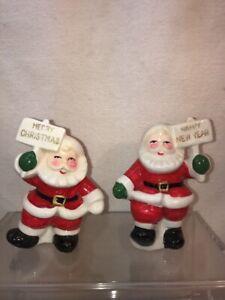 Vtg 1950's Pottery Japan Santa MERRY CHRISTMAS HAPPY NEW YEAR Salt & Pepper Set