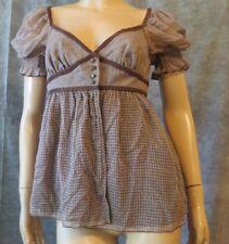 NWT SUSANA MONACO Brown Silk Basketweave Lambswool Tweed Peasant Top Shirt 8