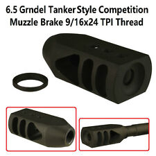 6.5 Grendel Tanker Style Competition Muzzle Brake 9/16x24 TPI Threaded W Washer