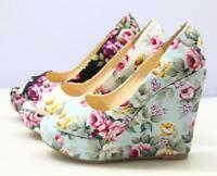 Womens Open Toe  Wedge High Heel Sandals Platform Party Shoes Pumps Retro Floral