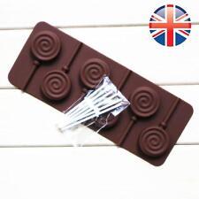 *UK Seller* Silicone Chocolate Cake 6 Circle Swirl Lollipop Bakeware Mold Mould