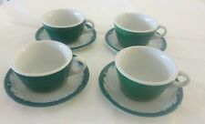 Vintage Jackson China Retro 60's American Diner Coffee Green Cup & Saucer Set 4