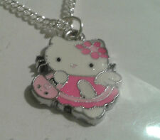 "TIBETAN SILVER+ ENAMEL""HELLO KITTY""PINK+ WHITE PENDANT ON SILVER PLATED NECKLACE"