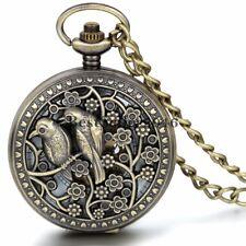 Bronze Lucky Bird Magpie Steampunk Skeleton Hand Wind Mechanical Pocket Watch