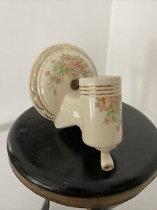Antique porcelain Wall Sconce Light Fixture Pull Switch Plug Access Floral