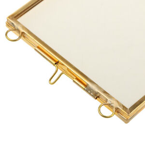 Vintage Style Glass Hanging/Free Stand Picture Photo Frame Portrait Brass Black