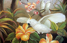 Cockatoo Birds Wild Jungle In Tree Orange Flowers Large Oil Painting STRETCHED