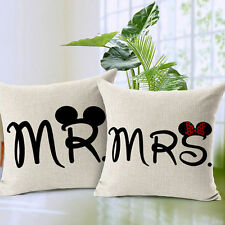 Pillow Waist Cover Mr and Mrs Love Couple Painting Sofa Cushion Home Case Square