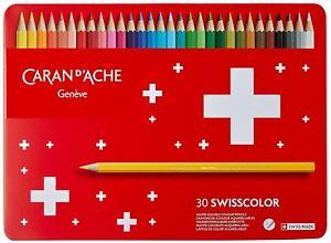 Caran D'Ache Crayons Coloré Swisscolor Aquarelle Boîte 30 Crayons de Couleur