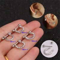 Stainless Steel Barbell With Cz Hoop Cartilage Helix Lobe Earring Ear Piercing.