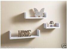 Juego De 3 Flotante Forma De U estantes de exhibición para montaje en pared-Blanco