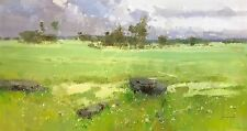 Meadow, Landscape Original Oil painting, Large Size painting, One of a kind