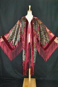 Classic Burgundy Peacock Hippie Sheer Burnout Kimono Fringe Jacket Velvet Duster