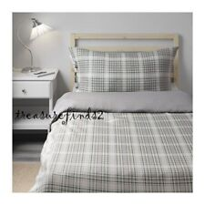IKEA TWIN Duvet Cover 2pc Set Green Check Plaid Reversible Snarjmara Cotton NOOP