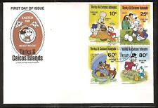 TURKS & CAICOS #476-80 DISNEY MICKEY MOUSE EASTER FDC's