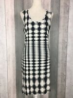 Roman Black Vertical Psychedelic Sleeveless Midi Shift Dress Size UK 16