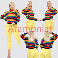Womens Ladies Long Sleeve Rainbow Knitted Ribbed Jumper Sweater Top 8-12 UK New