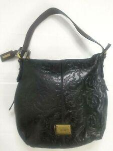 Tignanello Brown Embossed Tooled Leather Shoulder Hobo Bag Purse Satchel