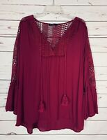 Blu Pepper Boutique Women's S Small Burgundy Boho Lace Fall Top Blouse Shirt