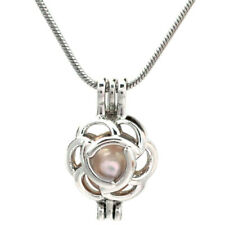 "Pick a Pearl Flower Locket Pendant Bead Cage 22"" Steel Snake Chain S-KP215"