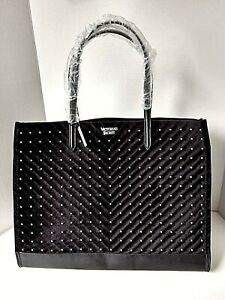 VICTORIAS SECRET STUDDED VELVET TOTE HOLIDAY 2019 BLACK BAG  NEW with TAG