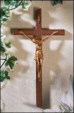 "Crucifix with Gold Corpus, 10"" (12107) Wood, Wall Crucifix"