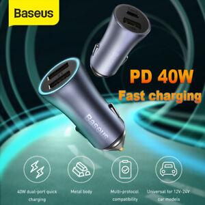 Baseus 40W QC4.0 USB Type-C Fast Charging Car Charger Adapter for iPhone Samsung